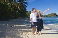 Couples mûrs sur la plage Photos libres de droits