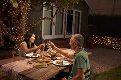 Couples mûrs appréciant le repas extérieur dans l'arrière-cour Photo stock