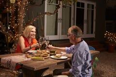 Couples mûrs appréciant le repas extérieur dans l'arrière-cour Photos stock