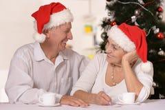 Couples mûrs célébrant la nouvelle année Photos stock