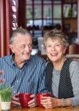 Couples mûrs dans le café Photo libre de droits