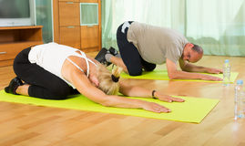 Couples mûrs faisant des exercices Images stock