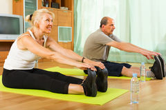 Couples mûrs faisant des exercices Image stock