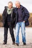 Couples mûrs heureux détendant des dunes de mer baltique image libre de droits