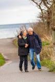 Couples mûrs heureux détendant des dunes de mer baltique photographie stock libre de droits