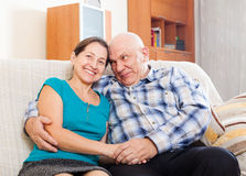 Couples mûrs heureux détendant ensemble Images libres de droits