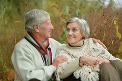 Couples mûrs heureux marchant en parc Photo libre de droits