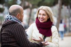 Couples mûrs heureux parlant dehors Image stock