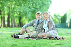 Couples mûrs heureux se reposant sur une couverture en parc Images libres de droits