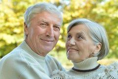 Couples mûrs marchant en parc Photographie stock