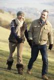 Couples mûrs sur la promenade de pays en hiver Photo stock