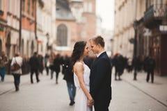 Couples magnifiques de mariage, jeune mariée, marié embrassant et étreignant la position dans la foule Photo stock