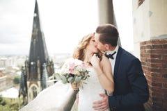 Couples magnifiques de mariage marchant dans la vieille ville de Lviv Photographie stock