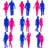 Couples man and woman silhouettes on a white background. Vector illustration Stock Images