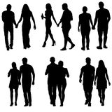 Couples man and woman silhouettes on a white background. Vector illustration.  Stock Photography