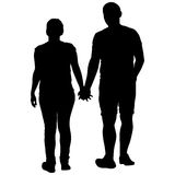 Couples man and woman silhouettes on a white background. Vector illustration.  Stock Photo