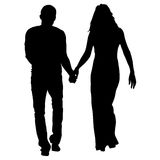 Couples man and woman silhouettes on a white background. Vector illustration.  Royalty Free Stock Photo