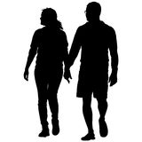 Couples man and woman silhouettes on a white background. Vector illustration.  Royalty Free Stock Photography