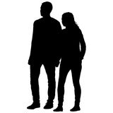 Couples man and woman silhouettes on a white background. Vector illustration.  Royalty Free Stock Photos