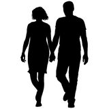 Couples man and woman silhouettes on a white background. Vector illustration.  Stock Photos