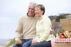 Couples mangeant un repas de fresque d'Al à la plage Images stock