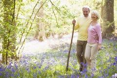 Couples marchant à l'extérieur avec le sourire de bâton de marche Image stock