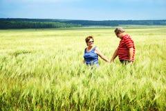 Couples marchant dans le domaine de blé Photographie stock libre de droits
