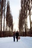 Couples marchant par la ruelle de peuplier Image libre de droits