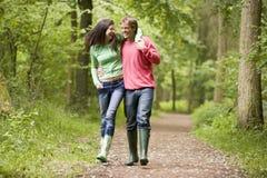 Couples marchant sur le bras de chemin dans le bras Image stock