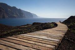 Couples marchant sur le chemin en bois à l'océan Photo libre de droits