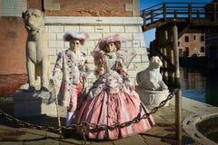 Couples masqués costumés par rose Photographie stock libre de droits
