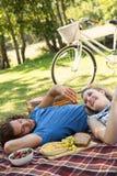 Couples mignons ayant un pique-nique photos stock
