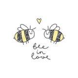 Couples mignons d'abeilles Photos libres de droits