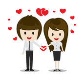 Couples mignons dans l'amour tenant des mains, personnages de dessin animé Photos libres de droits