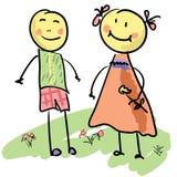 Couples mignons de dessin animé Images libres de droits
