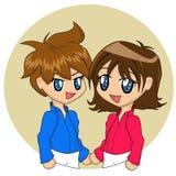 Couples mignons de dessin animé illustration stock