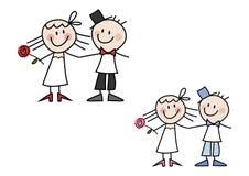 Couples mignons de mariage de dessin animé Photo libre de droits