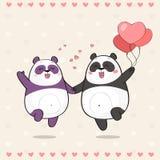 Couples mignons des pandas dans l'amour illustration libre de droits