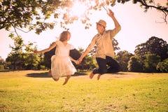 Couples mignons sautant en parc tenant ensemble des mains illustration stock