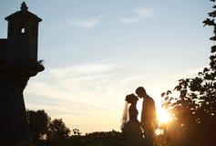 Couples mignons tenant des mains et les embrassant sur le château de fond et photo libre de droits