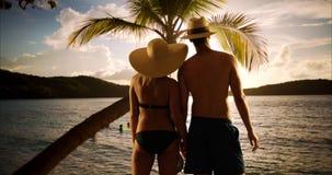 Couples millénaires heureux ayant l'amusement observant le coucher du soleil par la plage Photos libres de droits