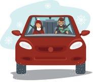 Couples montant dans la voiture rouge illustration libre de droits