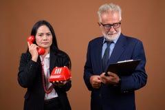 Couples multi-ethniques mûrs d'affaires sur le fond brun Photographie stock libre de droits
