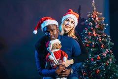 Couples multiraciaux dans l'amour ayant l'amusement et dépensant Noël ensemble Photographie stock libre de droits