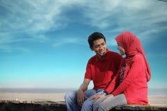 Couples musulmans extérieurs Images libres de droits