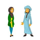 Couples musulmans sur le fond blanc d'isolement Photos libres de droits