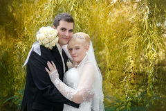 Couples nuptiales, femme heureuse de nouveaux mariés et homme embrassant en parc vert Photographie stock libre de droits