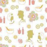 Couples, oranges, fleurs, coquille-station thermale de mer dans le pays Modèle sans couture de répétition illustration stock