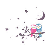 Couples of owls sitting on night scene. Illustration of couples of owls sitting on night scene Royalty Free Stock Images