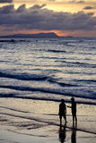 Couples par la plage photo stock